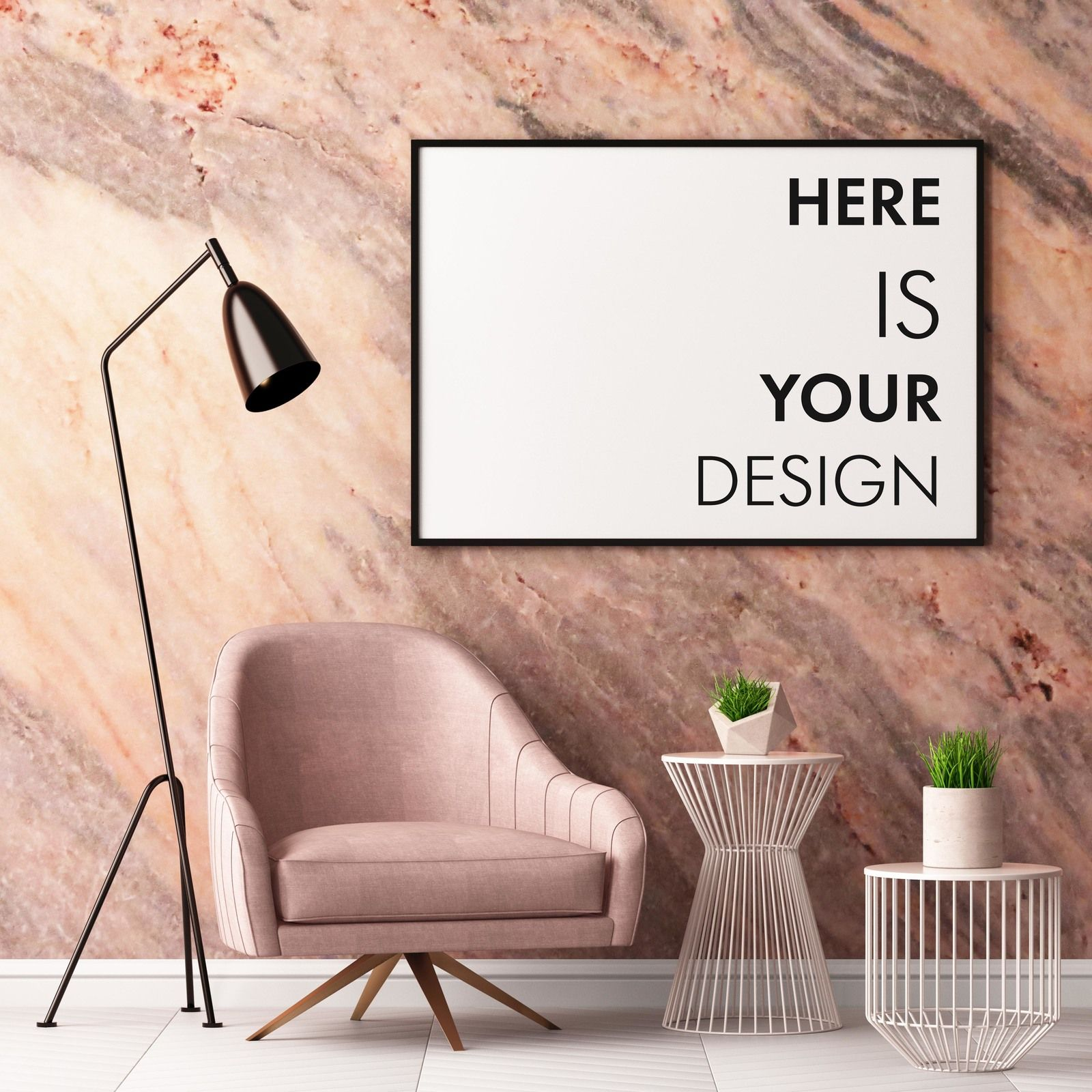 6 poster design photo mockups - 6 Mockup Posters In The Interior