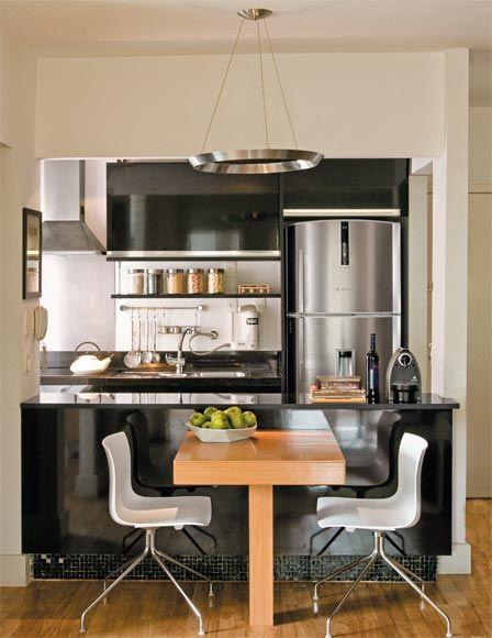 Cozinha pequena cozinha americana preto balc o loft - Armarios para casas pequenas ...