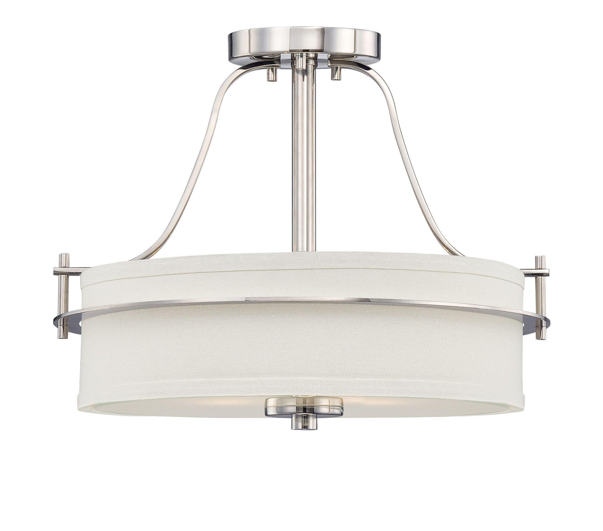 Loren - 2 Light Semi Flush w/ White Linen Shade