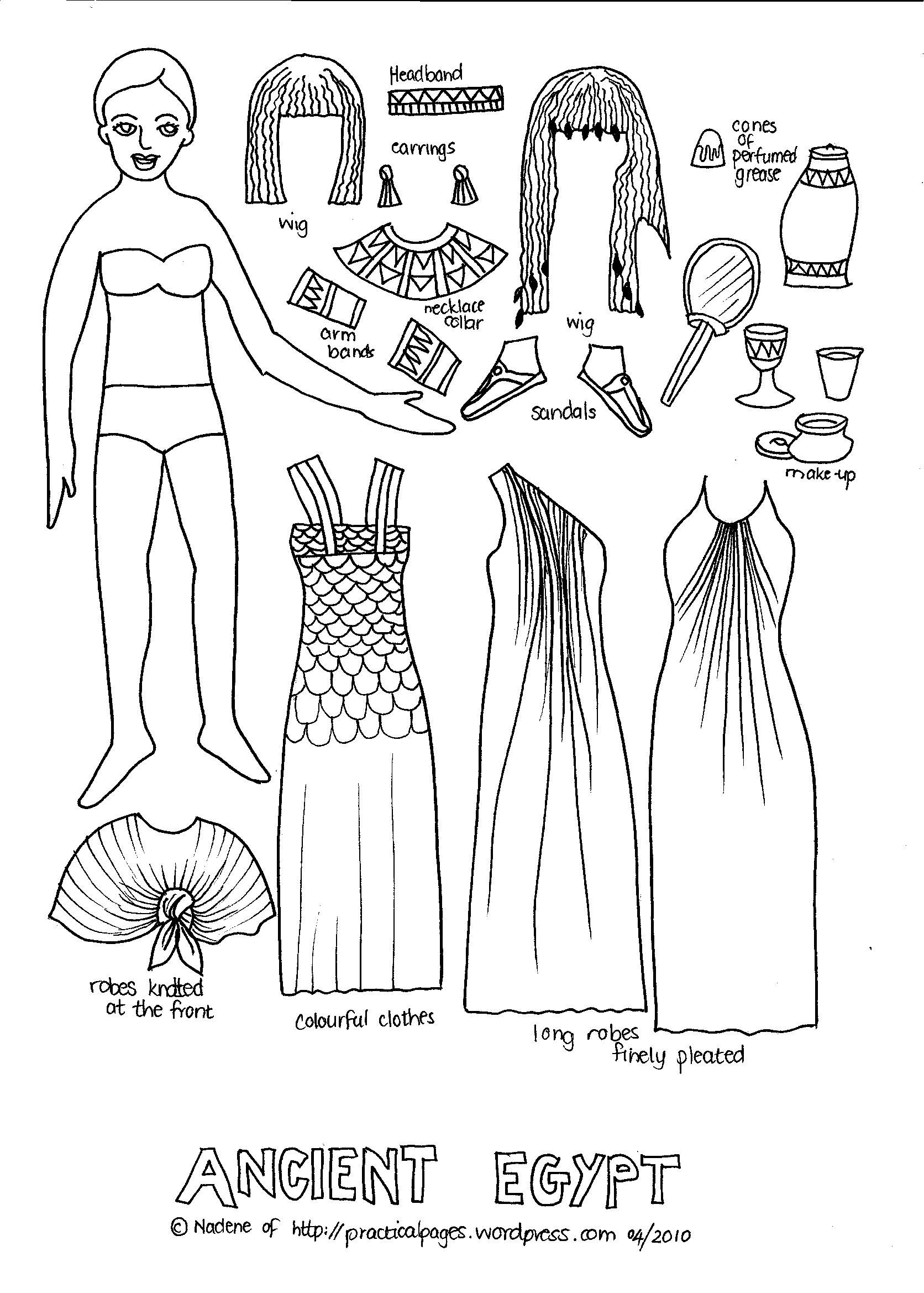 Paper dolls paper dolls pinterest ancient egypt for Ancient india coloring pages