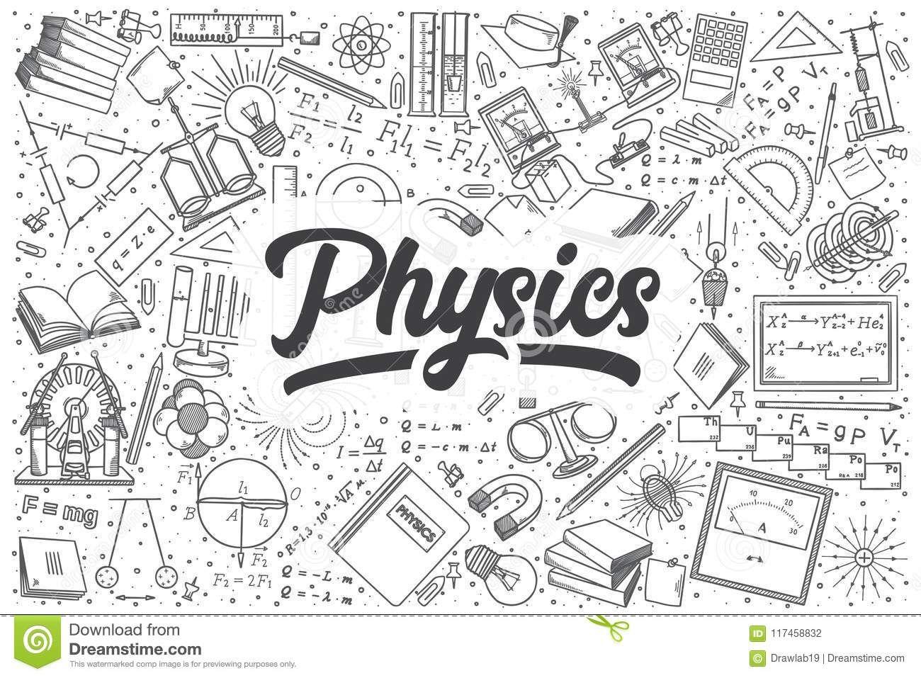 Illustration About Hand Drawn Physics Doodle Set