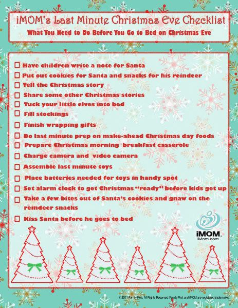 Christmas Eve Checklist Christmas eve, Christmas morning and Elves - christmas preparation checklist