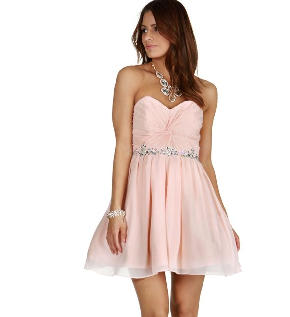 Carrie- Pink Chiffon Beaded Dress
