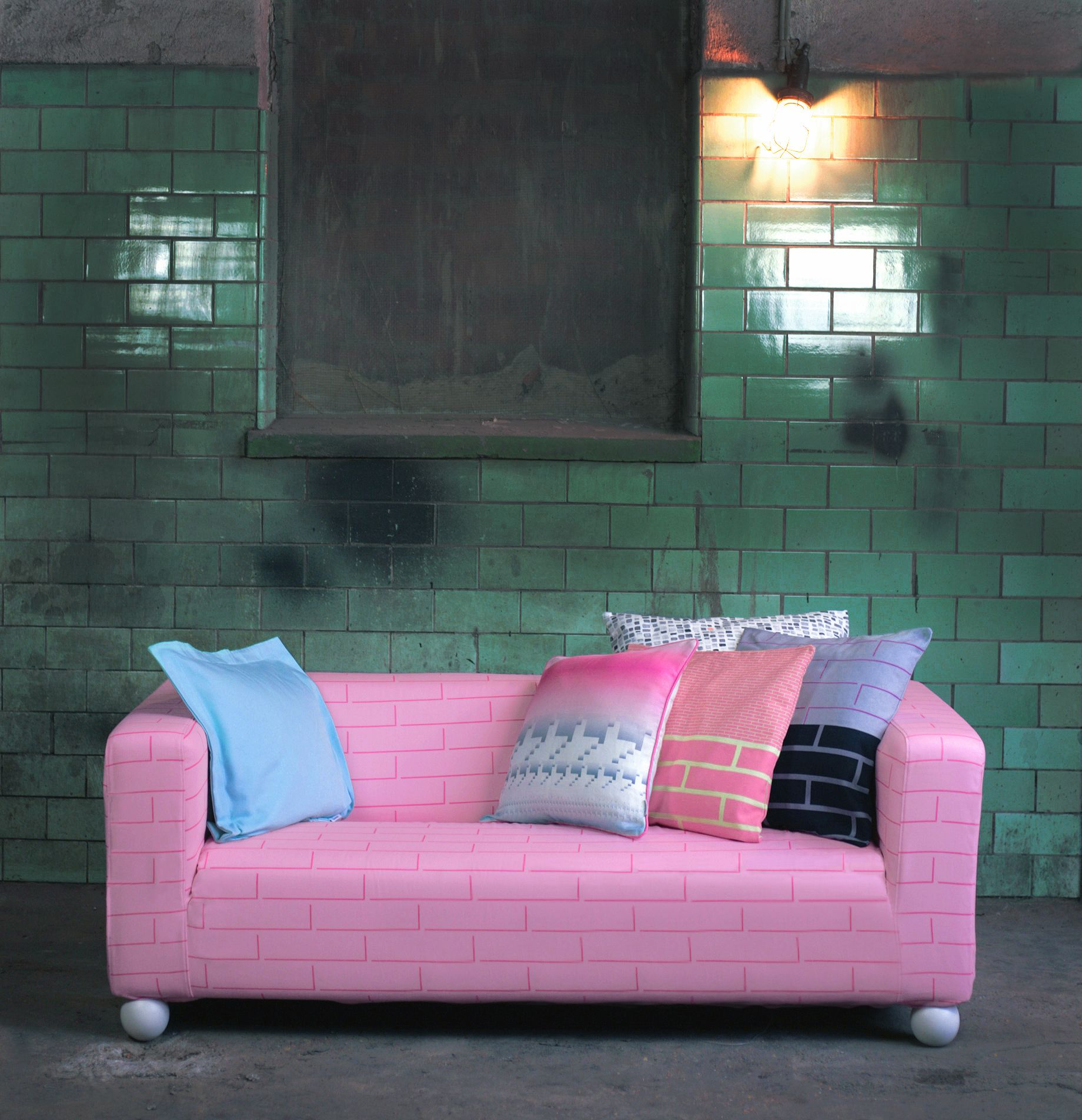 Bemz cover for Klippan 2 seater sofa fabric Brick Building Pink