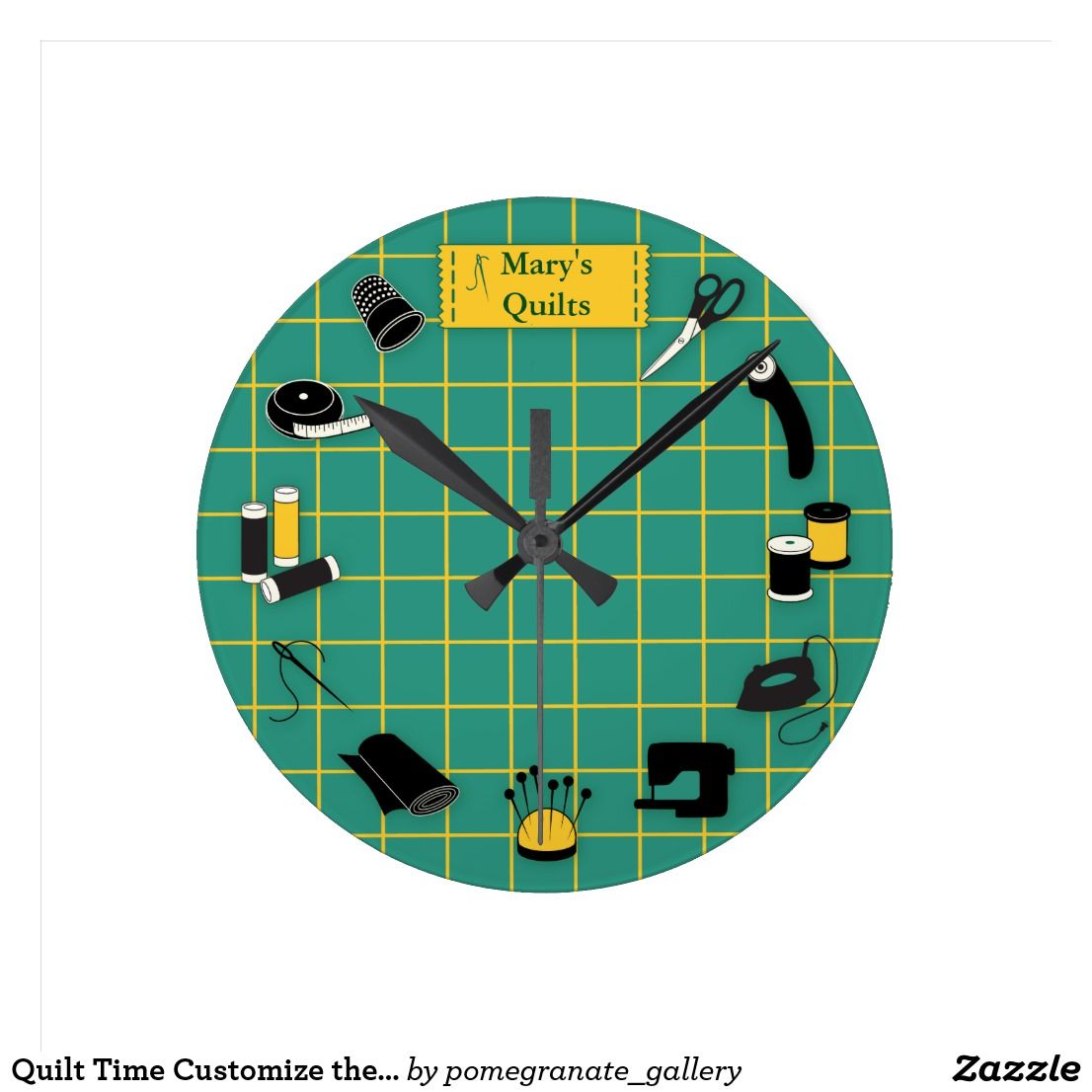 Quilt Time Customize The Label Round Clock Zazzle Com Sewing Machine Quilting Clock Quilts