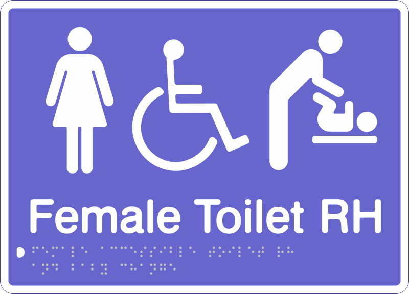 Female Accessible Toilet R H   Baby Change Sign Chameleon PBW FATRB braille. Female Accessible Toilet R H   Baby Change Sign Chameleon PBW