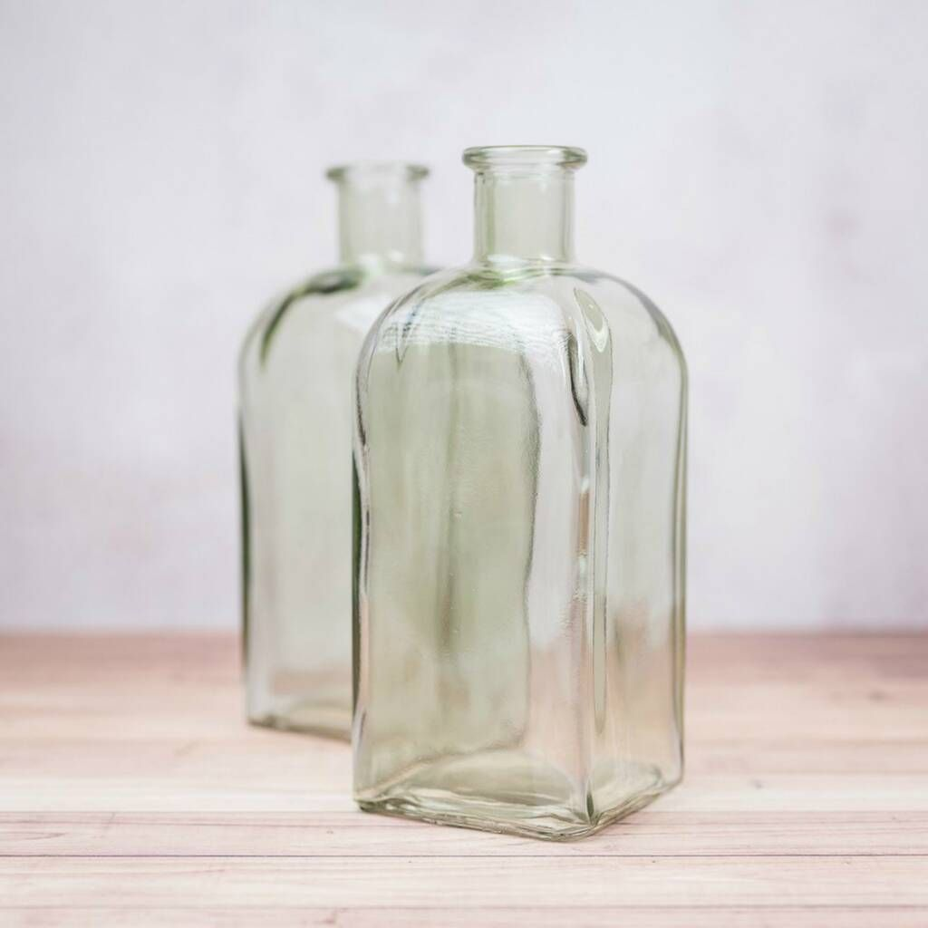 Botanical Green Square Glass Bottle Vase In 2020 Colored Glass