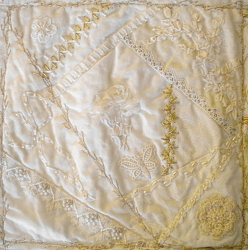 I crazy quilting ribbon embroidery white on