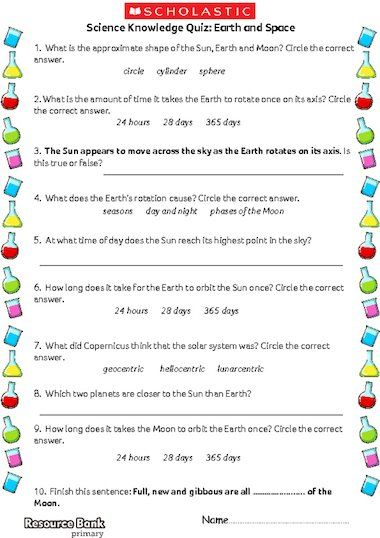 KS2 Science knowledge quiz on the topic of Earth and Space ...