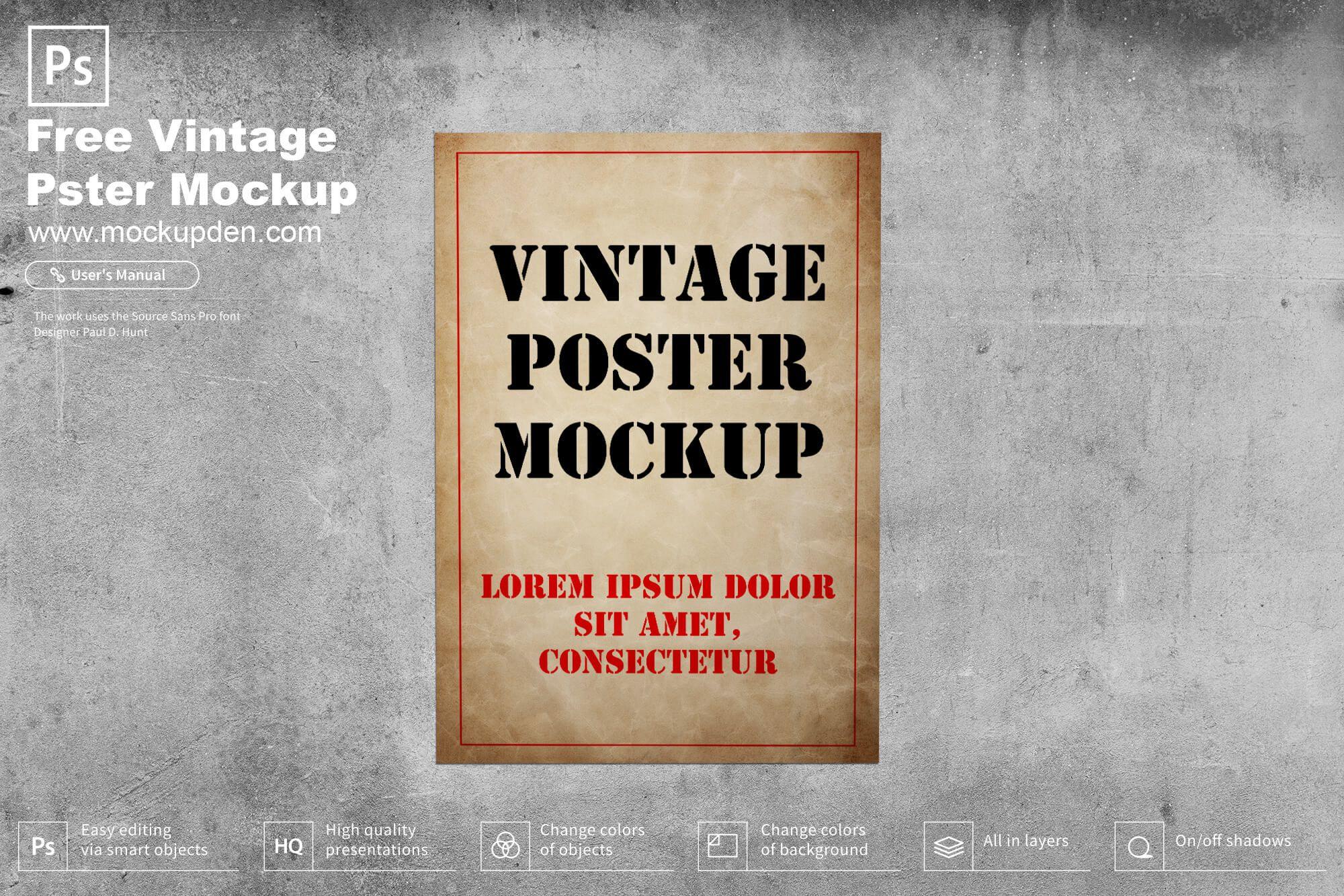 Free Vintage Poster Mockup Psd Template Poster Mockup Poster Mockup Psd Vintage Posters