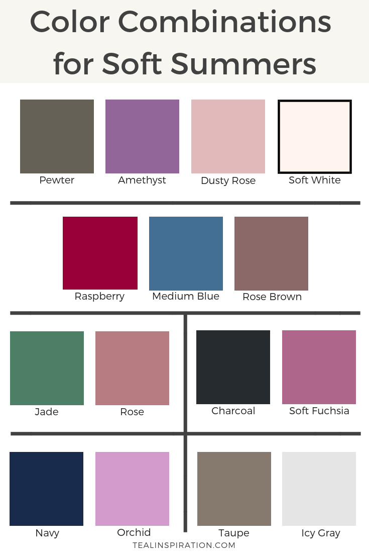 Color Combinations for Soft Summers is part of Soft summer color palette, Soft summer, Cool summer palette, Light summer color palette, Soft summer palette, Summer color palette - Soft Summers are muted and dusty  On the seasonal color spectrum, Soft Summers are more muted than both their