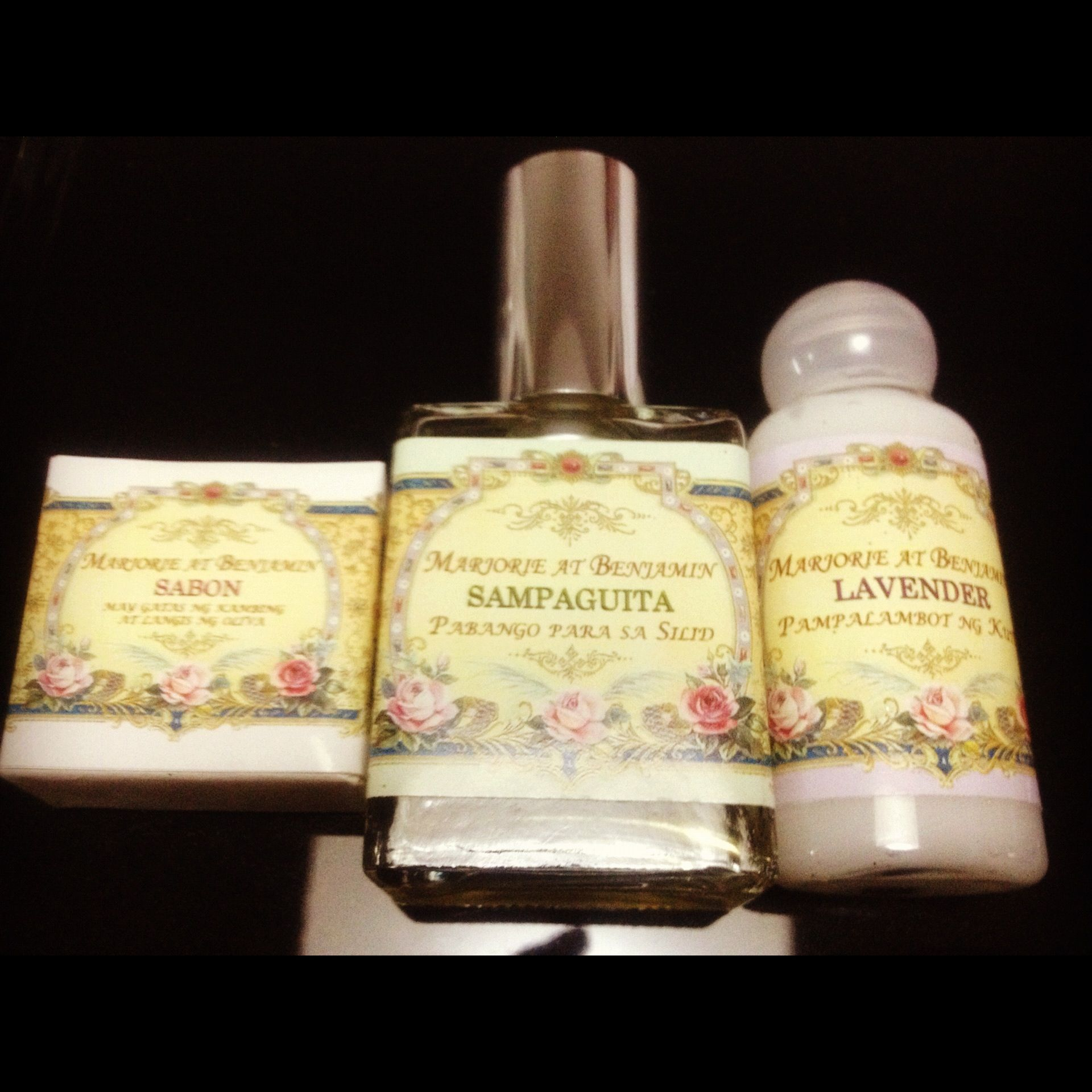 Personalized soap, lotion and room spray formulated by Arch. Lorelei De Viana, one of our principal sponsors, for the whole entourage.   Love the labels BFF/ninang Lorei made!   #jardinsolei.weebly.com
