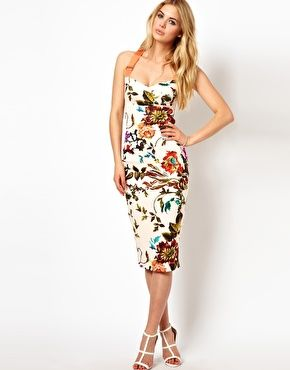 ca4b823a4 Image 1 of Ted Baker Floral Midi Dress with Contrast Straps | My ...