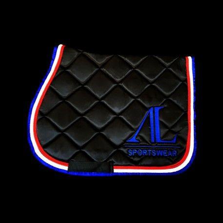 Tapis Noir 4 Cordes Rouges Et Blanches Contour Bleu Roi