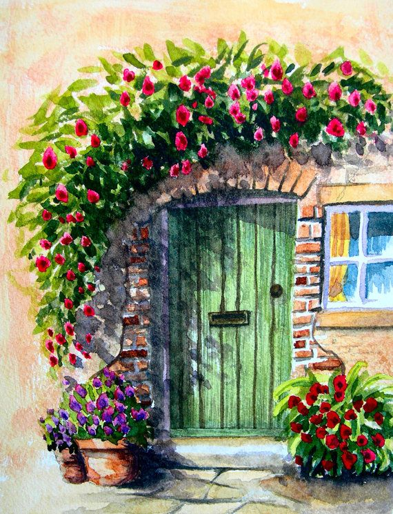 Items similar to Original watercolour painting, aquarelle, Cottage Door on Etsy #wasserfarbenkunst