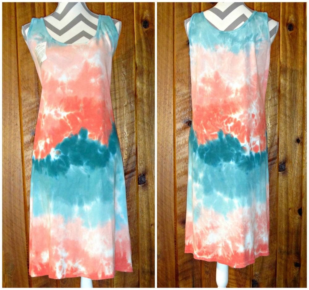 XL Hand Tie Dyed Sleeveless Summer Tank Dress Orange & Teal Green 100% Cotton #Unbranded #AsymmetricalHem #Casual #Dress #TieDye #JoiNT #JawDroppingNifty3 #JawDropping
