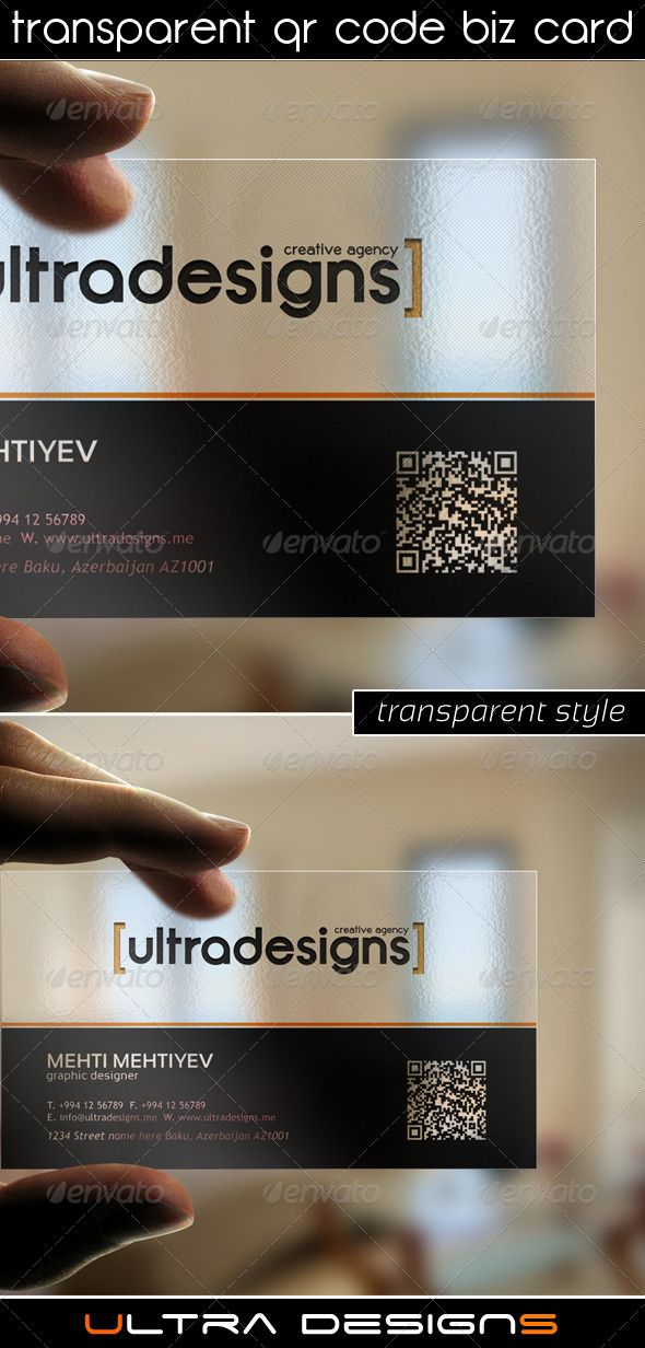 Transparent QR Code Business Card | Qr codes, Business cards and ...