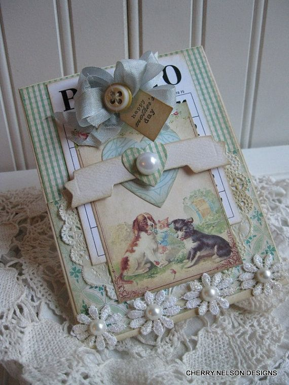 shabby mothers day card- PUPPIES PLAYING card- handmade card