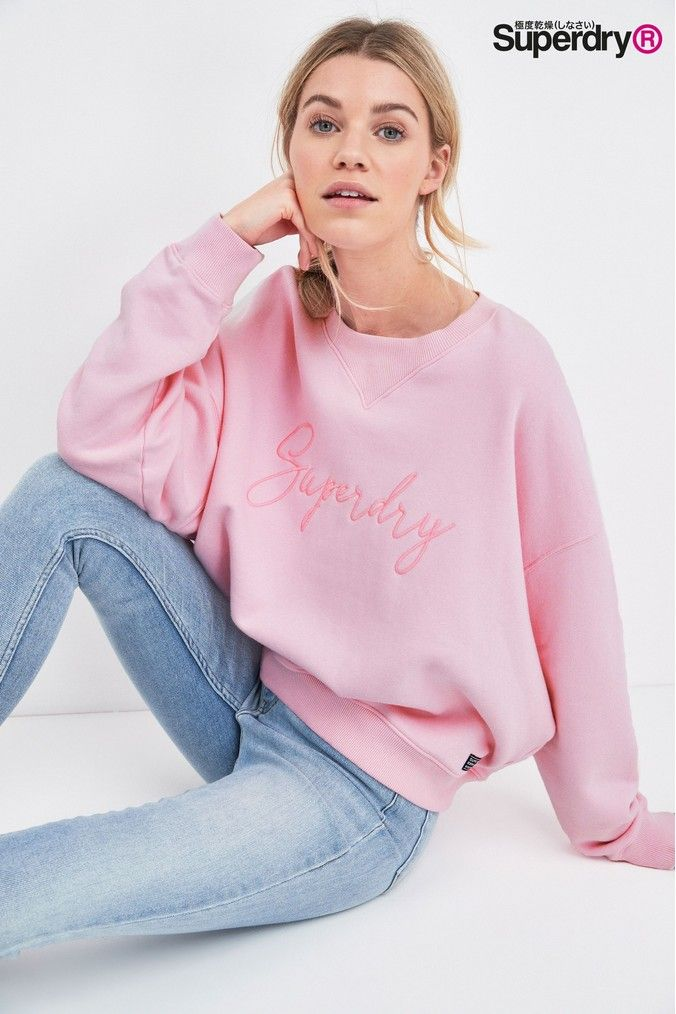Superdry Pink Crew Sweat Top | Superdry, Tops, Fashion
