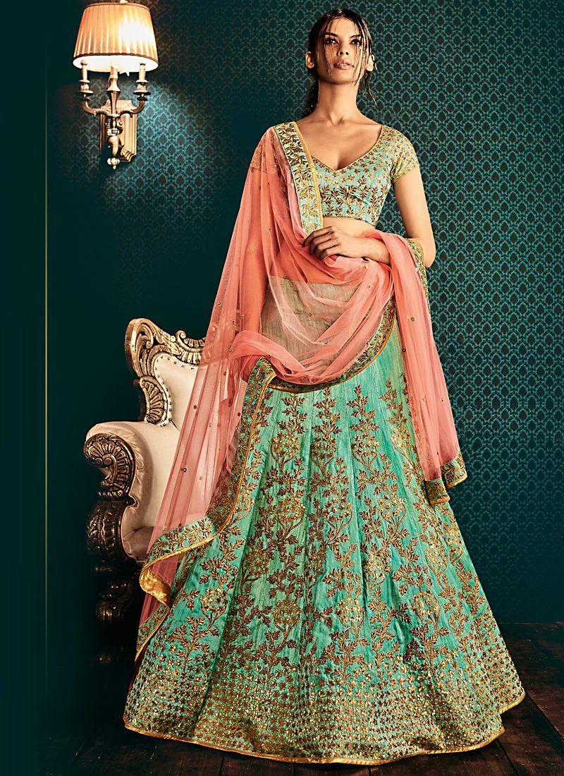 721bec2c08 Grandeur sea green n peach embroidered lehenga | Lehnga Style ...