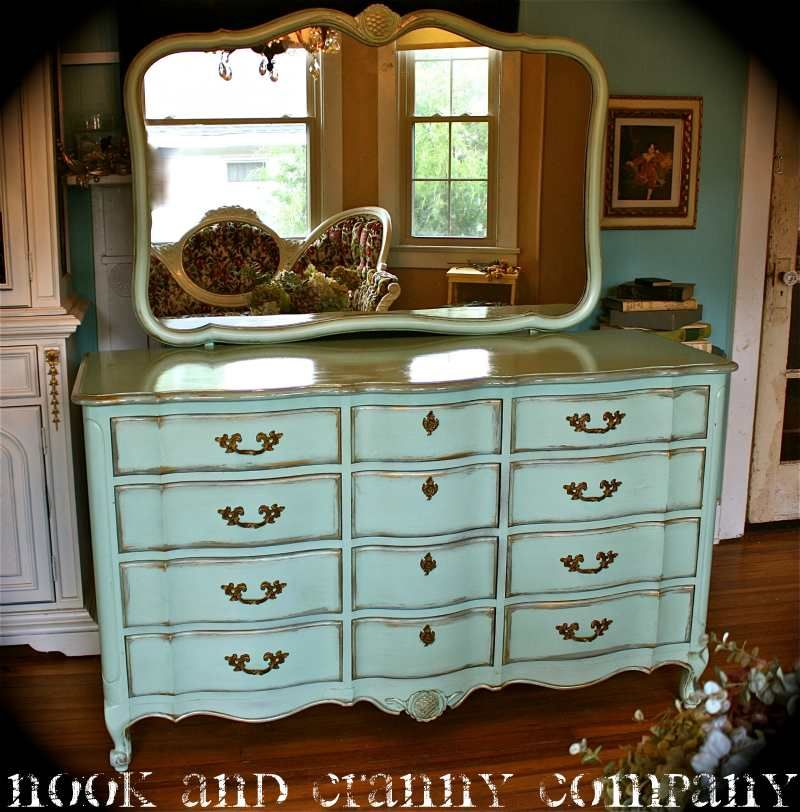 French Provincial Dresser Mint Green Green And Gold Blue And