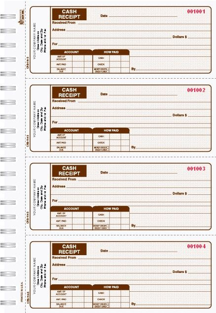 2 Part Cash Receipt Books- Brown\/ 4 up to a page Business Forms - cash receipt sample