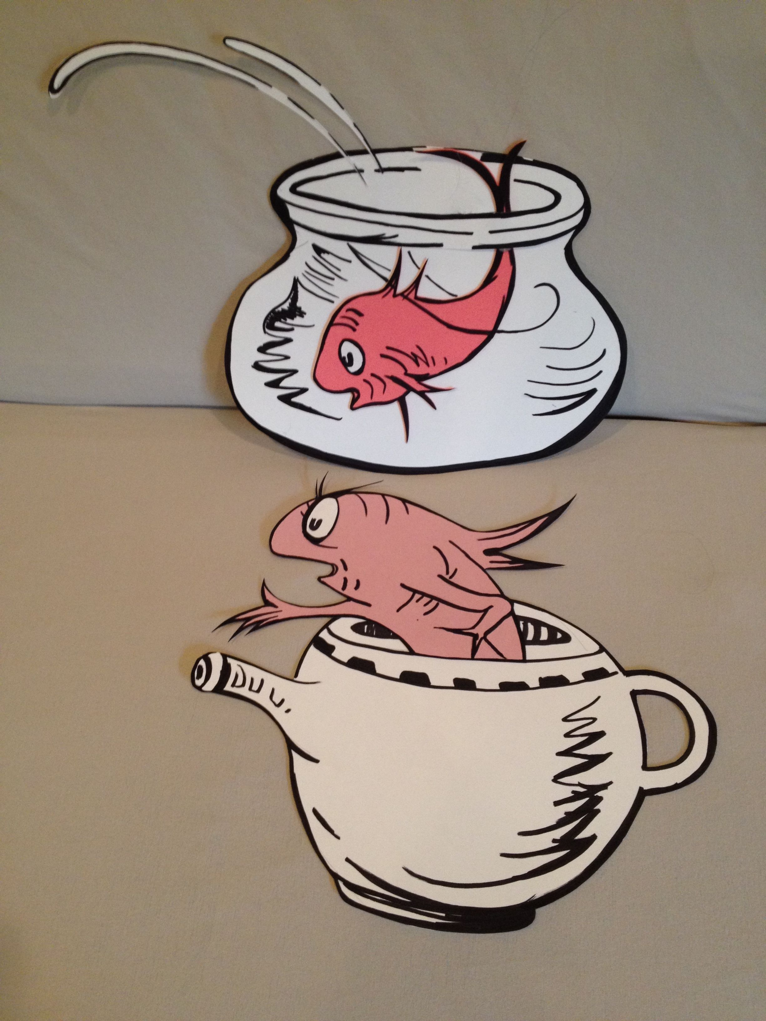 the fish in the bowl and in the pot dr seuss party decorations