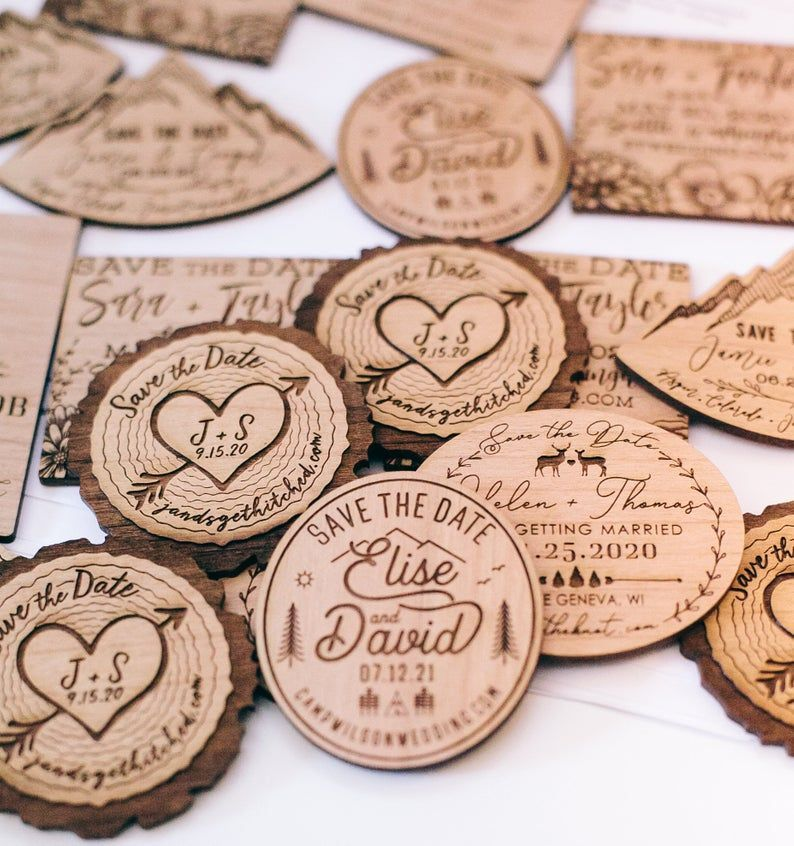 Save the Date Wood Magnet, Camp Wedding Invitation, Mountain Wedding Invite, Custom Wedding Favor, Wood Slice Invitation, Forest Wedding
