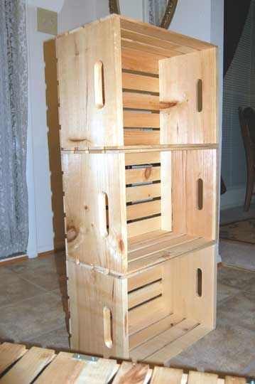 how to make shelves out of fruit crates id es de recyclage pinterest caisse tag re et. Black Bedroom Furniture Sets. Home Design Ideas