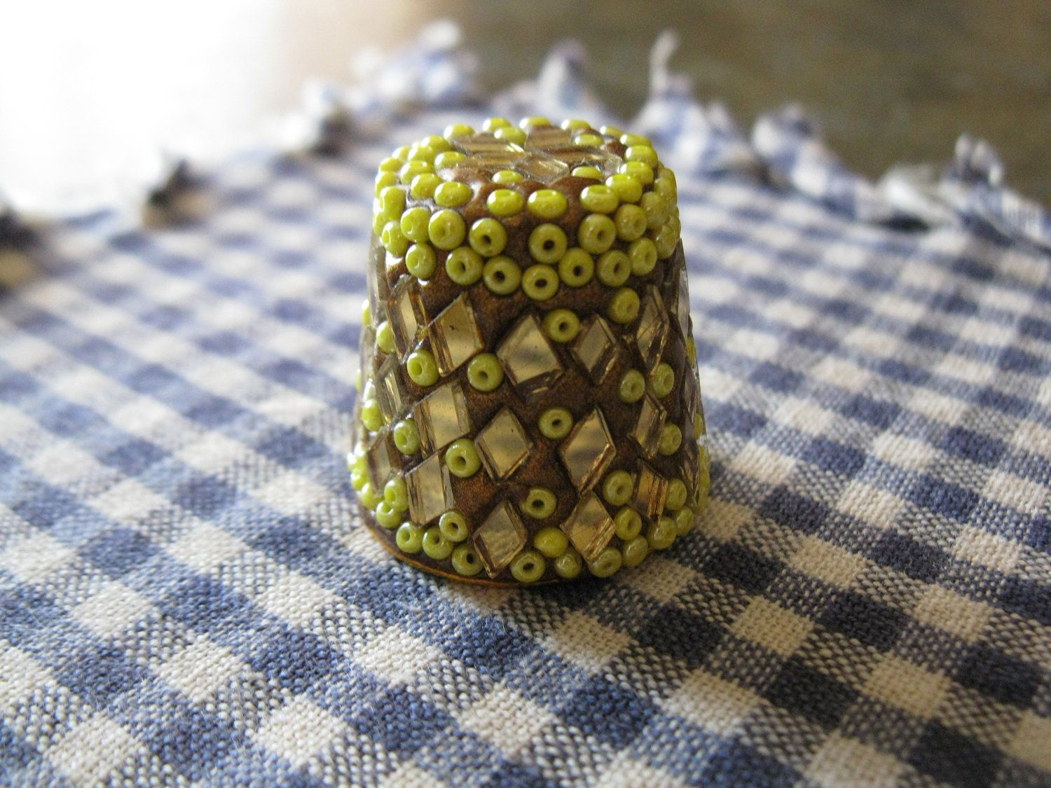 stunning vintage bead glass thimble / made in india. $8.00, via Etsy.