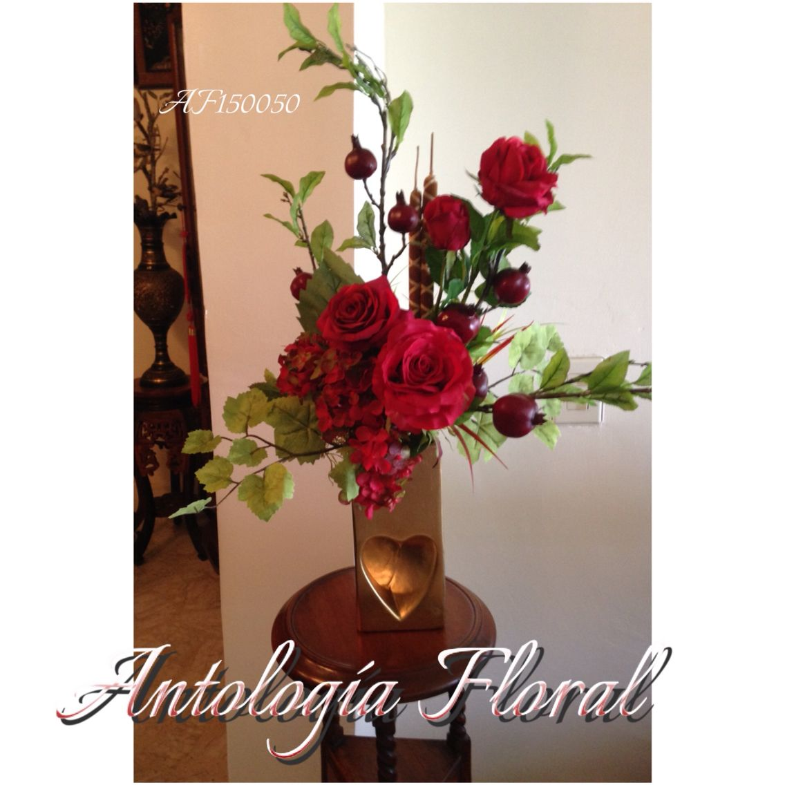 Arreglo de flores artificiales con granadas rosas y - Arreglos florales artificiales centros de mesa ...