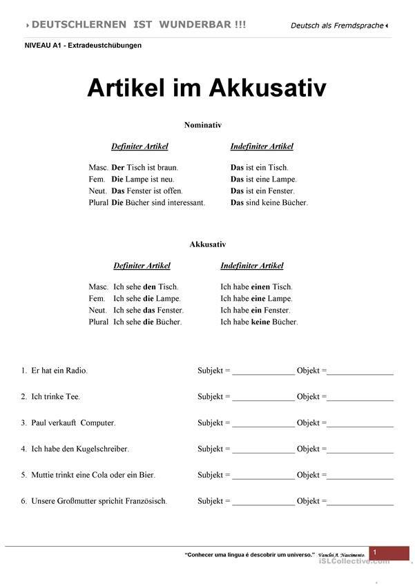 A1 - Artikel im Akkusativ | Deutsch für Kinder (Arbeitsblätter ...