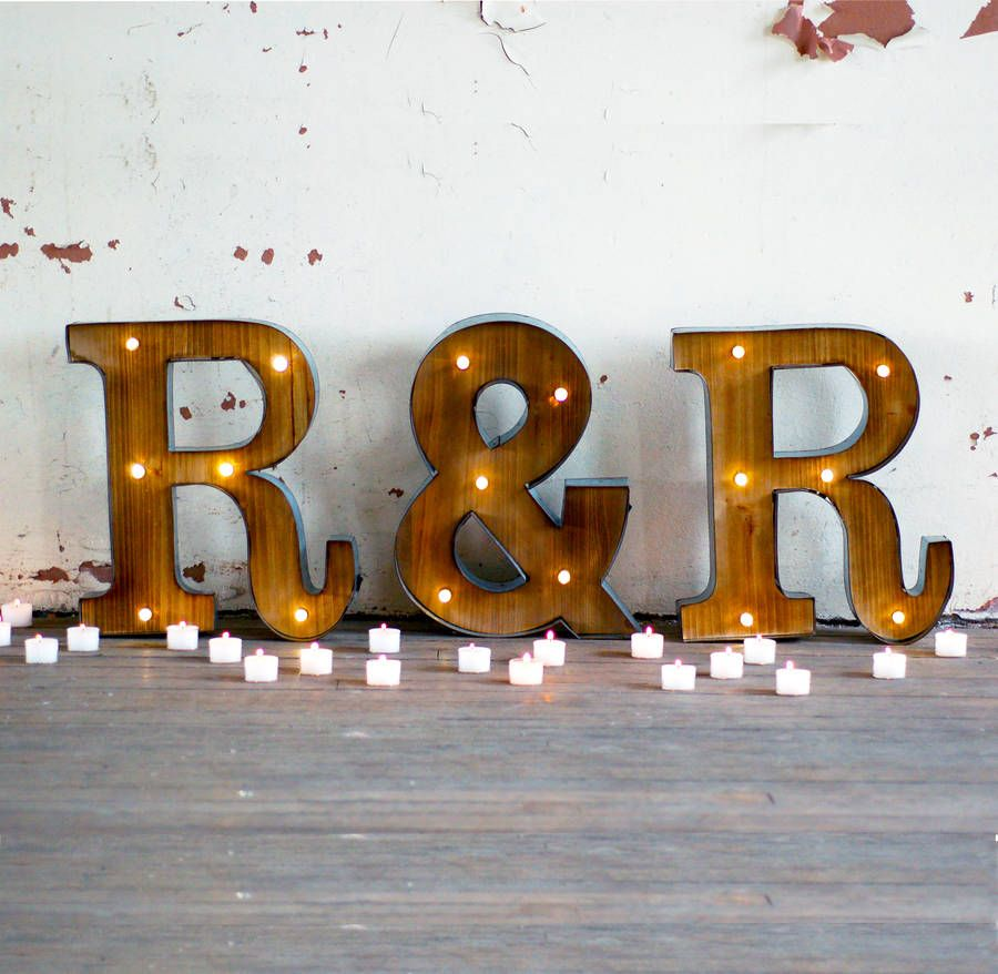 couples initial fairground wedding letter lights led