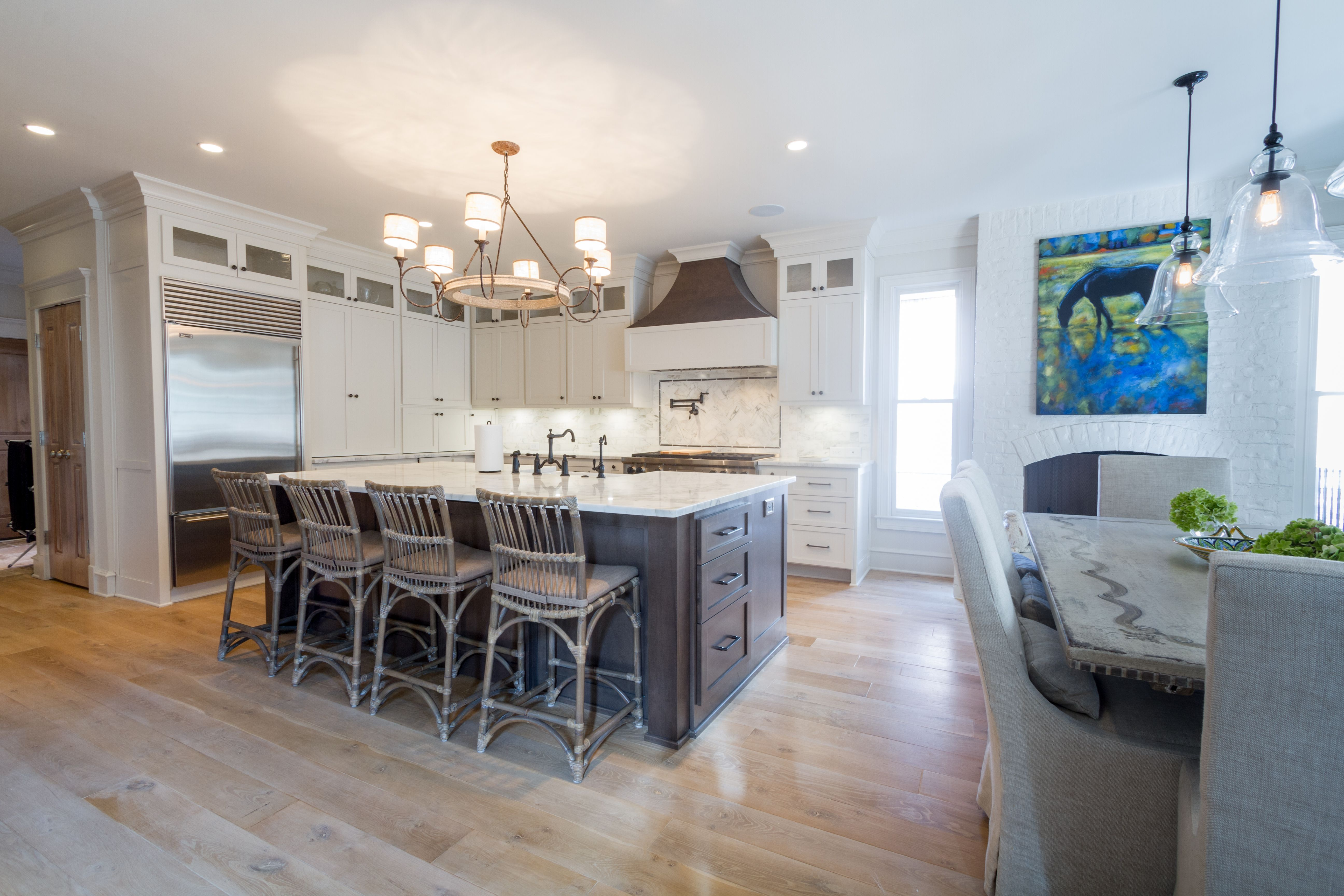 This is a custom kitchen featuring shaker with a
