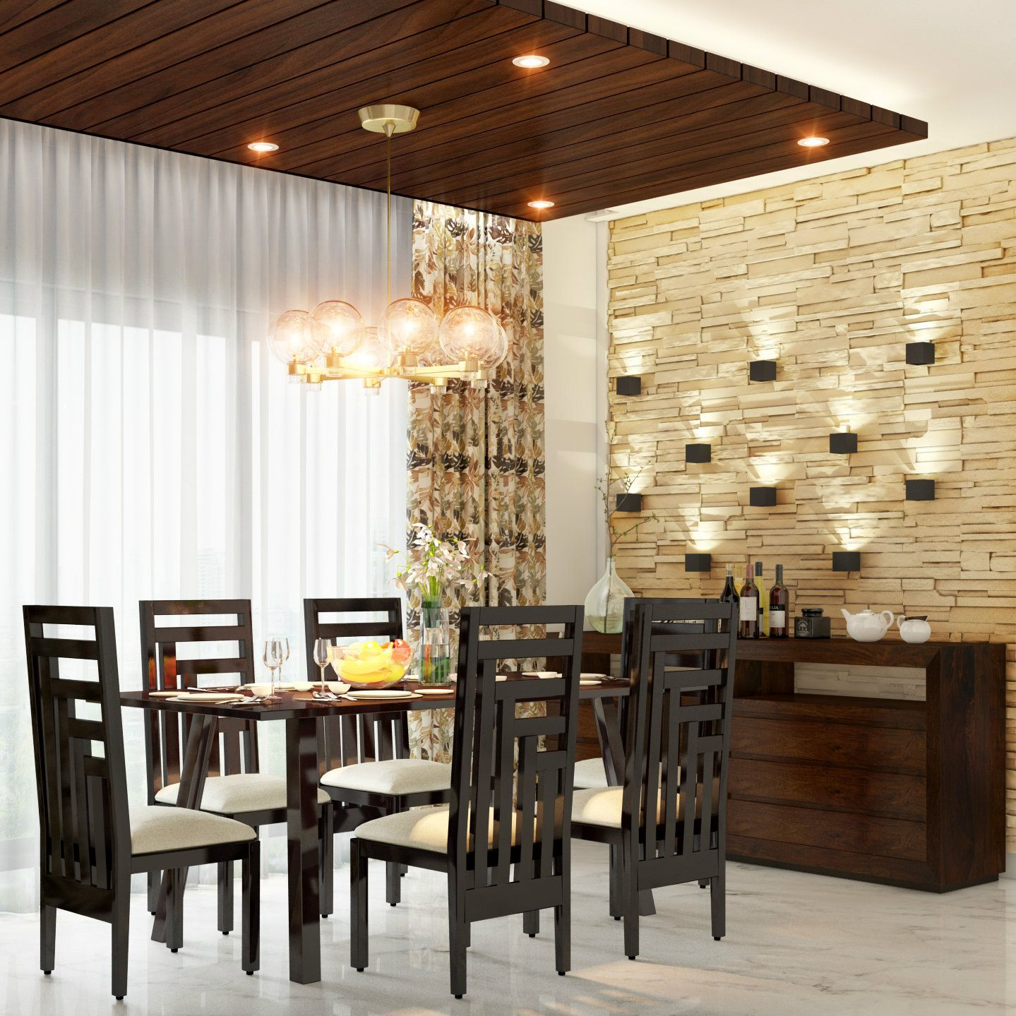 upscale dining room furniture. An Upscale Dining Room With Pretty Wall Scones. Accent Lights, False Ceiling, Cladding Furniture