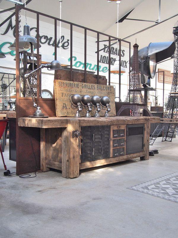 Grand Meuble De Metier D Ebeniste En Bois Et Metal Meuble De Metier Meuble Vintage Industriel Decoration Style Industriel Retro