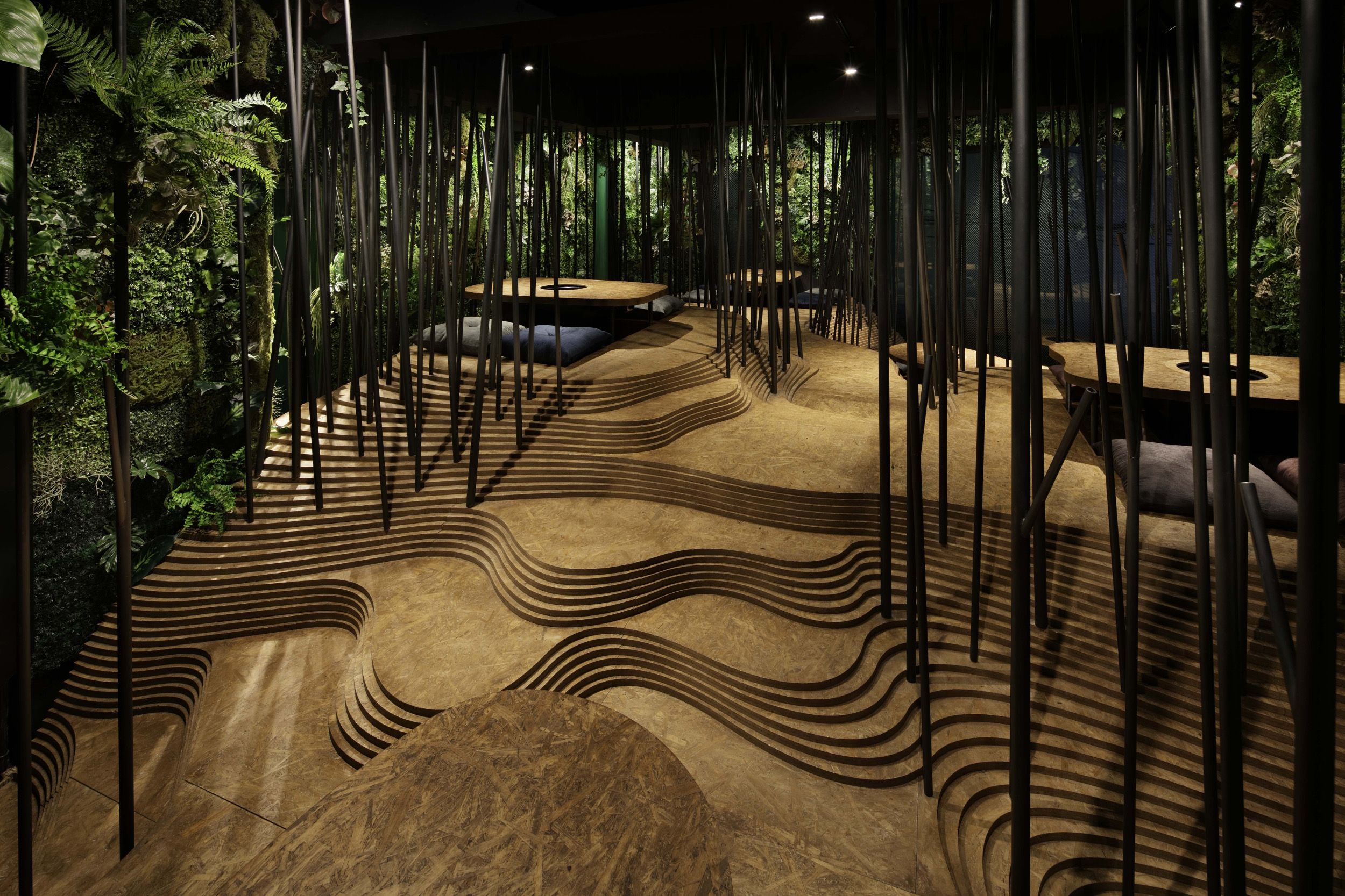 Inside the tokyo restaurant with its own indoor forest and cave