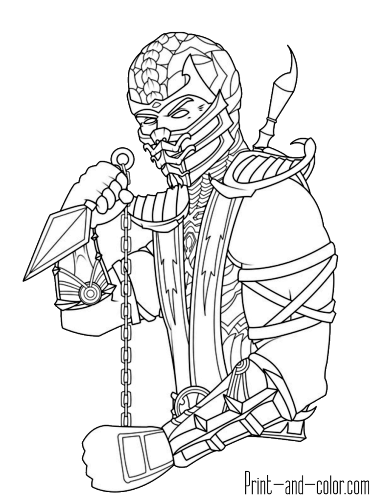 Mortal Kombat coloring page Scorpion 2 | adult coloring ...