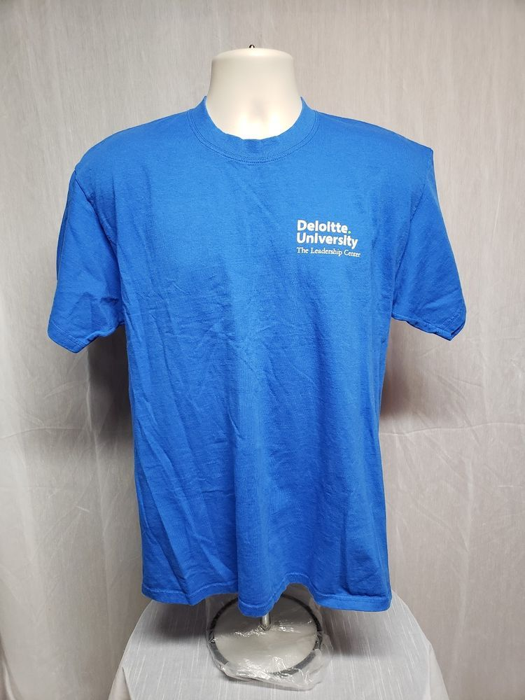 854808e5d2f Deloitte University The Leadership Center Adult Large Blue TShirt   PortandCompany