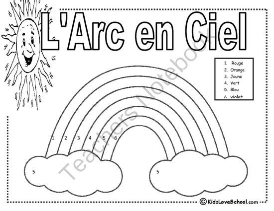 l arc en ciel colour by number in french from kidsloveschool on 1 page. Black Bedroom Furniture Sets. Home Design Ideas