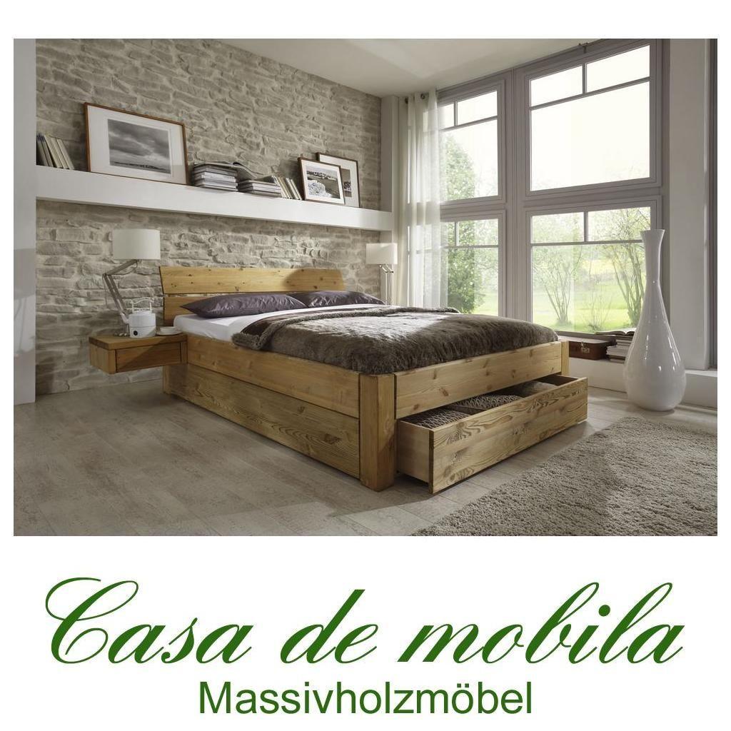 massivholz schubladenbett 160x200 holzbett bett kiefer massiv, Schlafzimmer entwurf