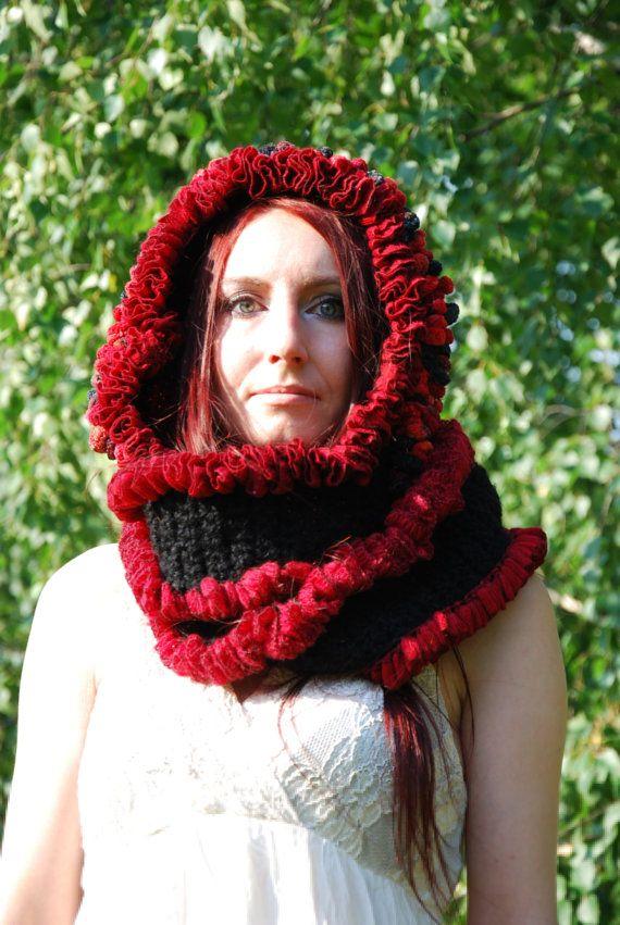 Crochet Hoodie Crocheted Hooded Scarf Pixie Fairy Elven Hippie ...