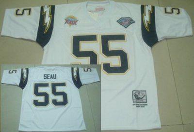 competitive price 0ec2b 842cc San Diego Chargers #55 Junior Seau White Super Bowl XXIX ...