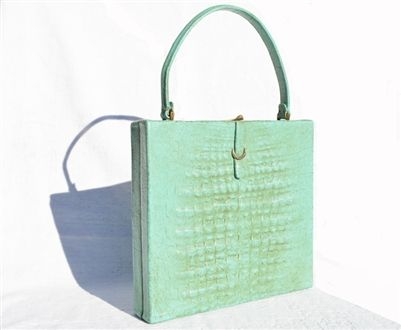 Custom Verdigris Turquoise 1950 S 60 Crocodile Belly Skin Handbag Modell Royal