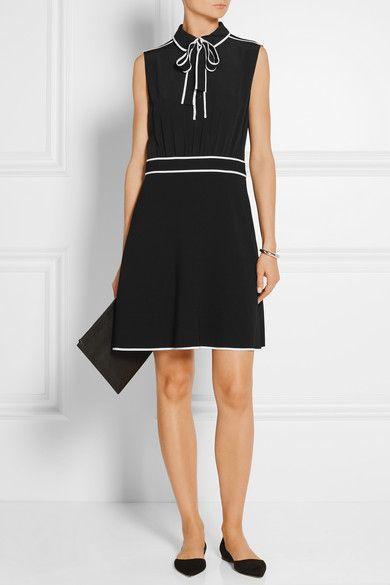 Boutique Moschino   Pussy-bow silk-chiffon and stretch-crepe mini dress  