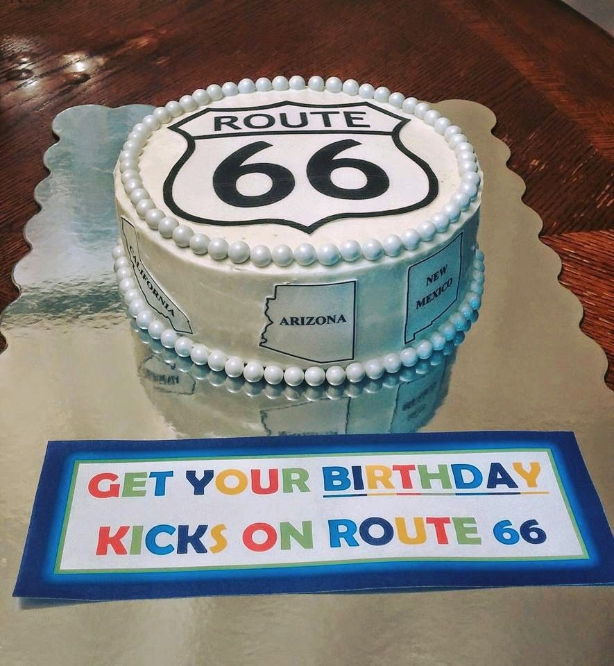 February Birthday Cakes Route 66 Cake For 66th Birthday February 2016 By Beckiecakes