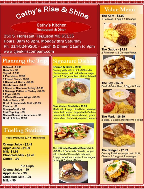 Cathy S Kitchen 250 S Florisaant Ferguson Mo 8am To 9 Pm Mon Thru Sat Todays Menu Catering Menu Wonderful Recipe