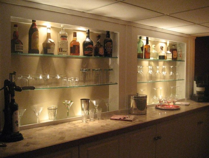 Love This Great Basement Bar With Glass Shelving For Glasses And
