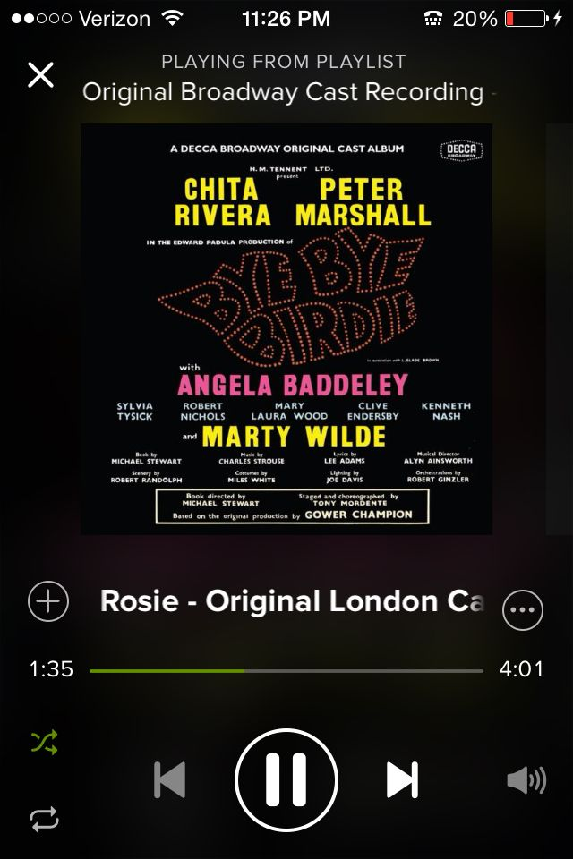 Seriously my favorite song out of Bye Bye Birdie. I'll be your Rosie if you'll be my Albert.