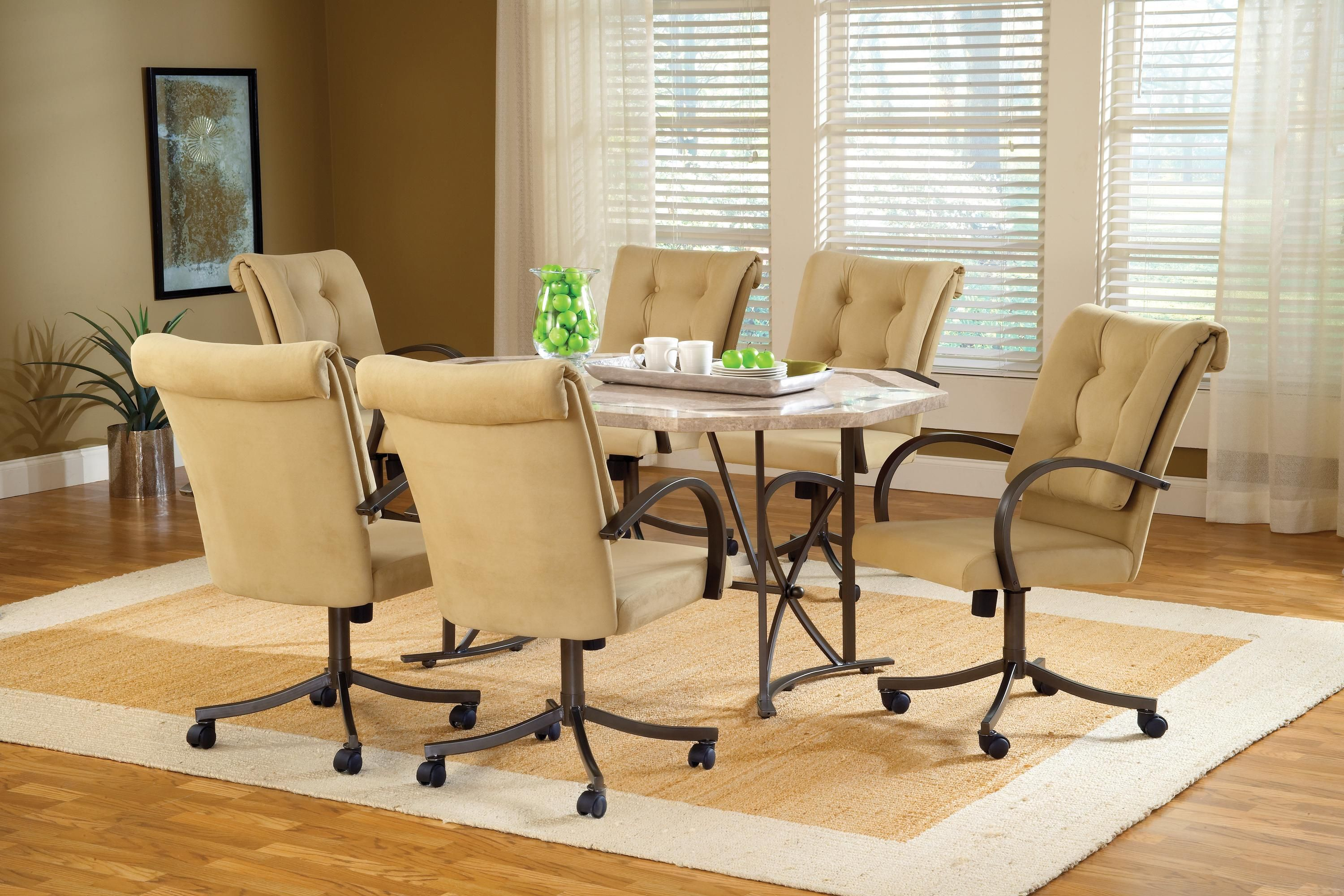 Harbour Point 7pc Octagon Dining Set With Caster Chair Leather
